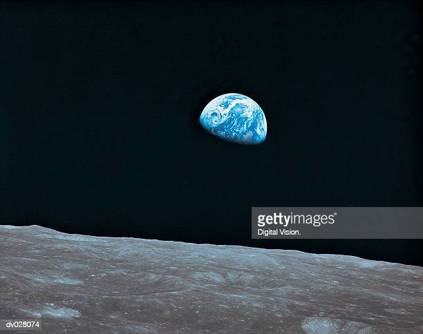 earth and lunar landscape - planet earth stock pictures, royalty-free photos & images
