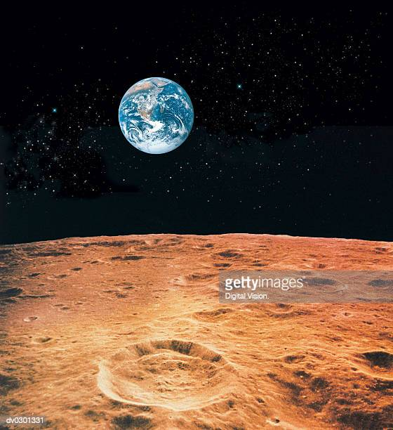 earth and lunar surface with star background - meteor crater stock pictures, royalty-free photos & images