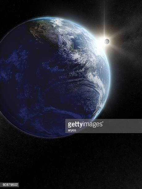 Erde und Mond von Raum