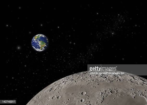 earth and moon in space - lua cheia imagens e fotografias de stock