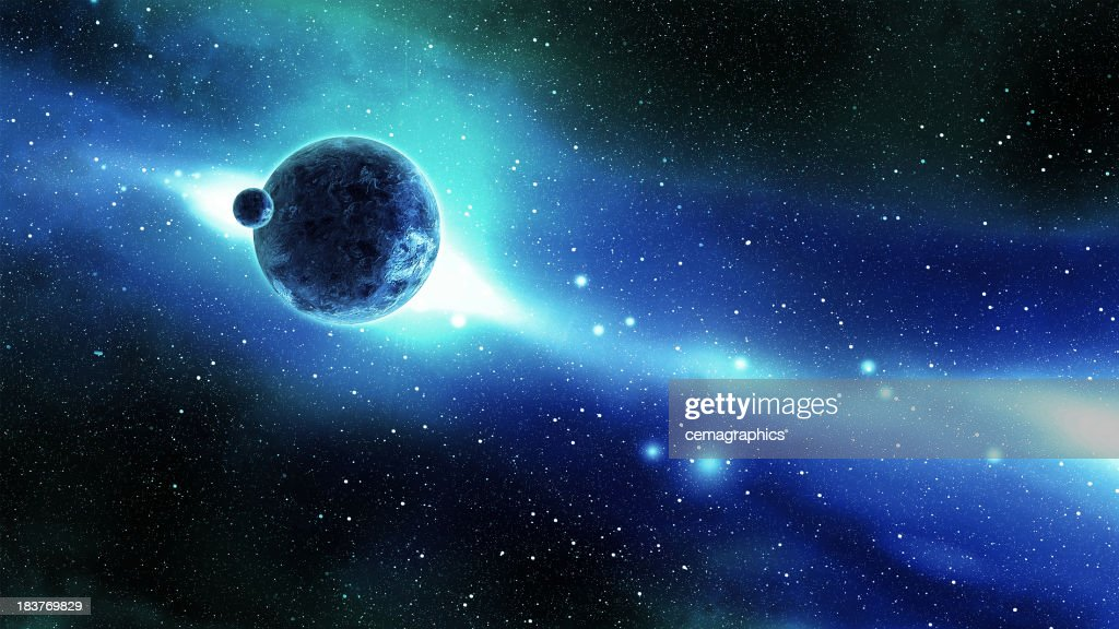 Earth and Moon over the Galaxy in Space : Stock Photo