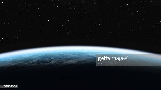 earth and moon - satellietfoto stockfoto's en -beelden
