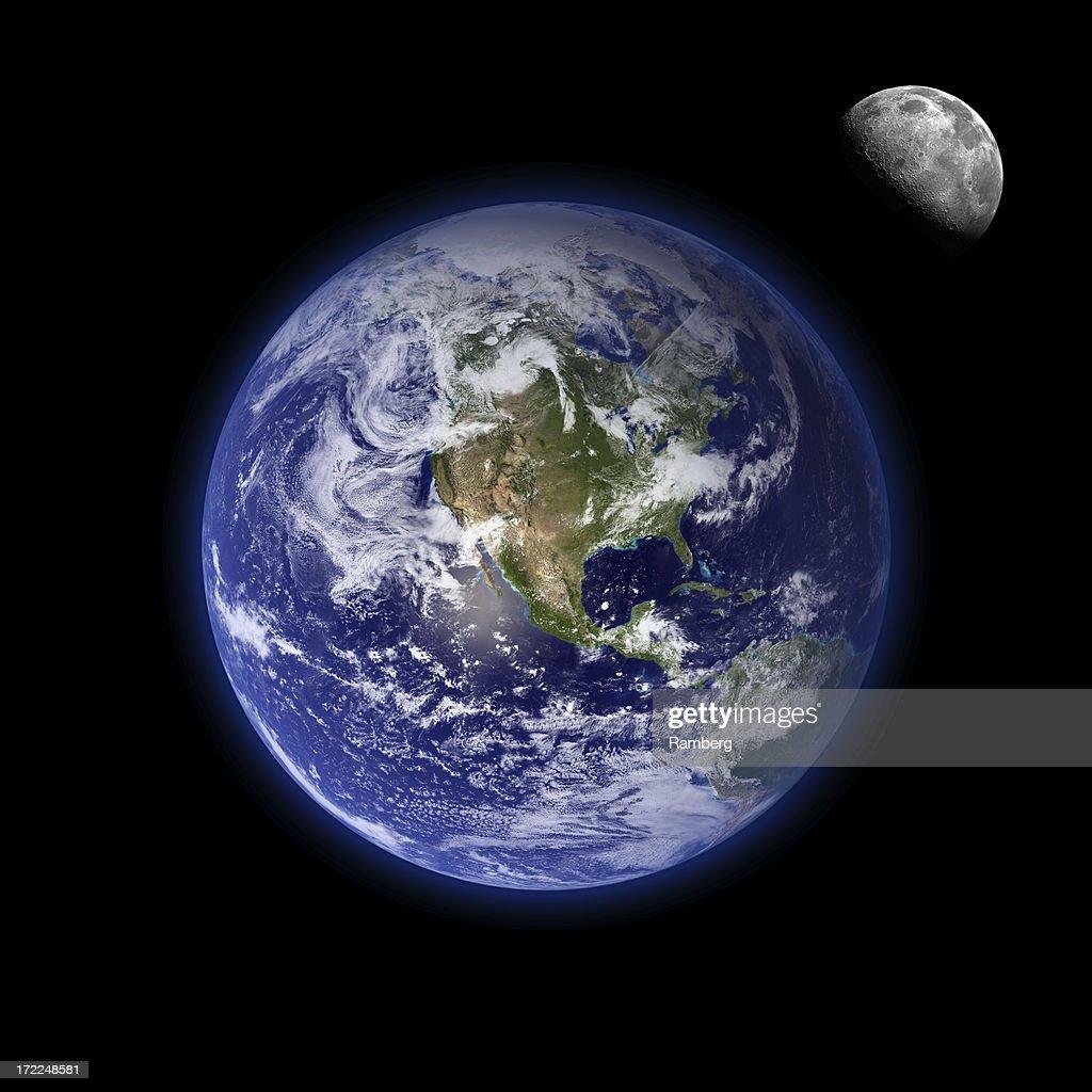 Earth and moon : Stock Photo
