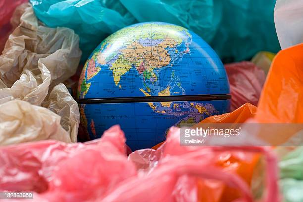 earth and plastic bags