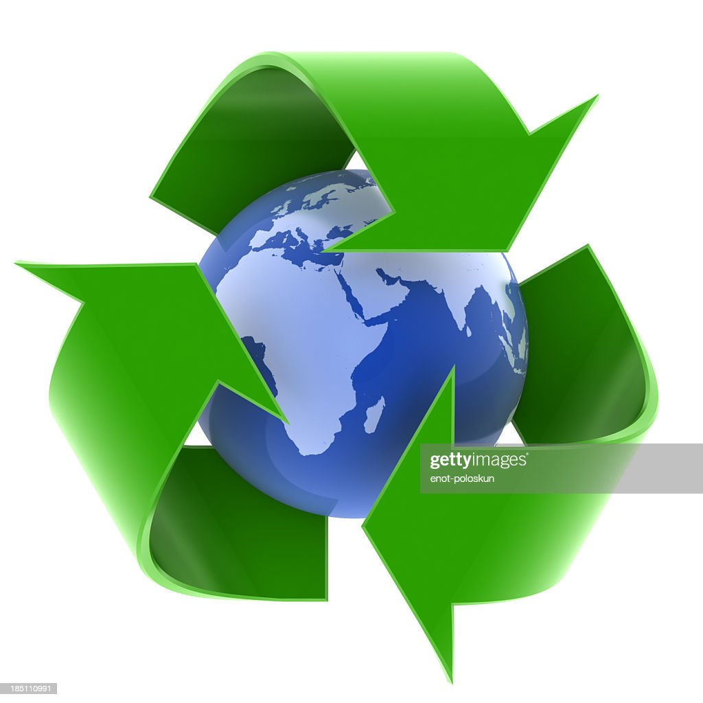 earth and recycling symbol : Stock Photo