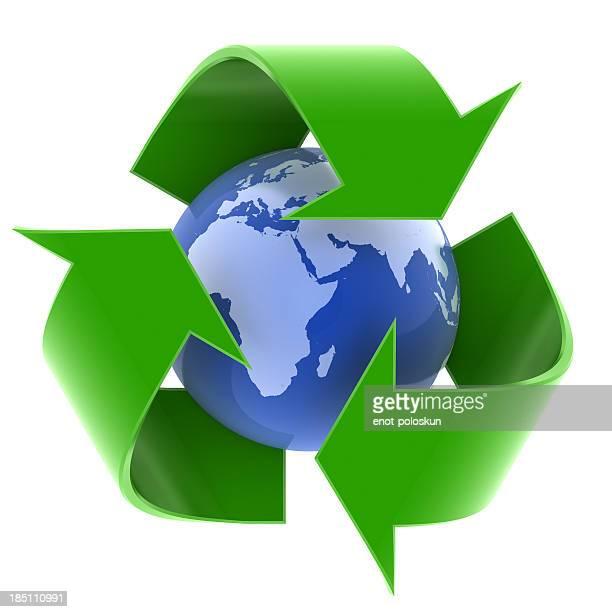 アースとリサイクルシンボル