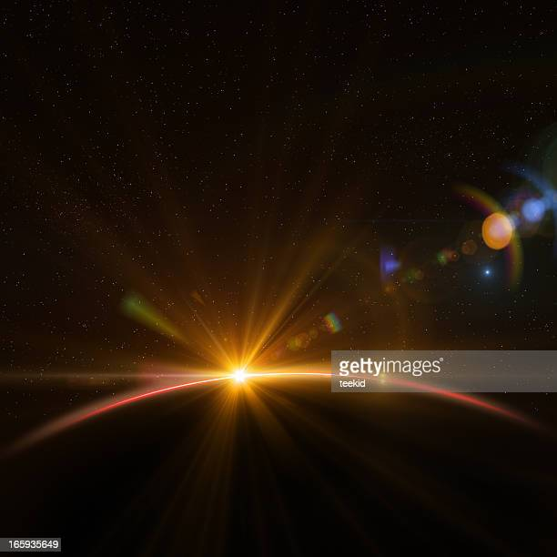 earth and rising sun - lens flare stock pictures, royalty-free photos & images