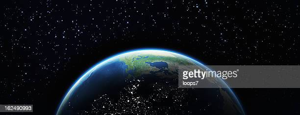 earth and stars - satellite view stock pictures, royalty-free photos & images