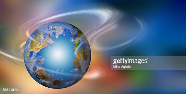 earth and white swirls of light - mike agliolo stock photos and pictures