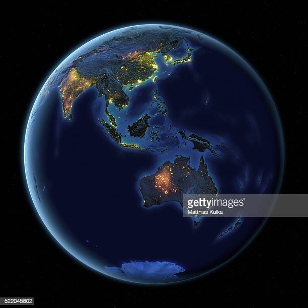 earth at night australia - south east asia stock pictures, royalty-free photos & images