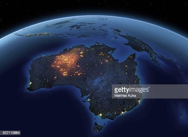 earth at night australia - australie photos et images de collection