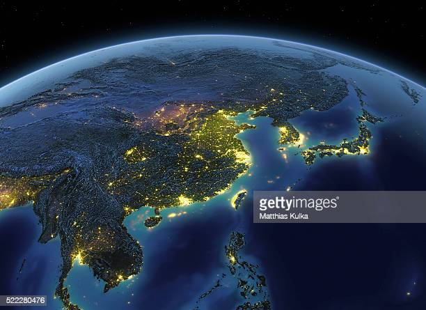 Earth at night China / Japan