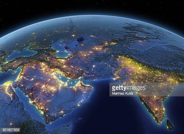 earth at night middle east / india - south asia stock pictures, royalty-free photos & images