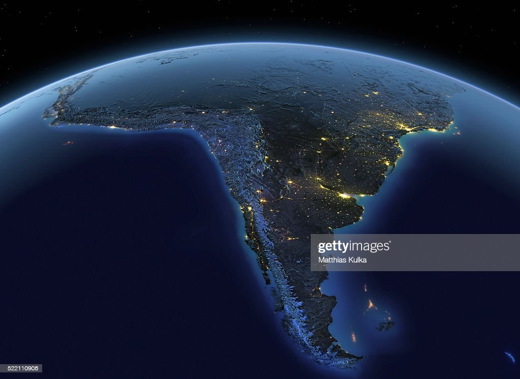 Earth at night South America : Foto stock
