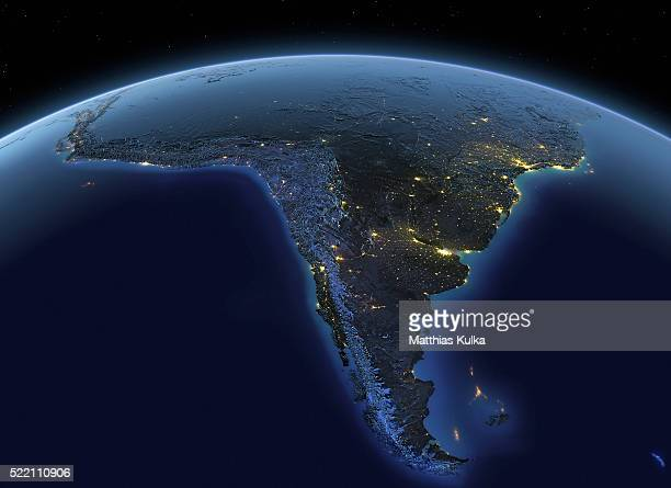 earth at night south america - südamerika stock-fotos und bilder