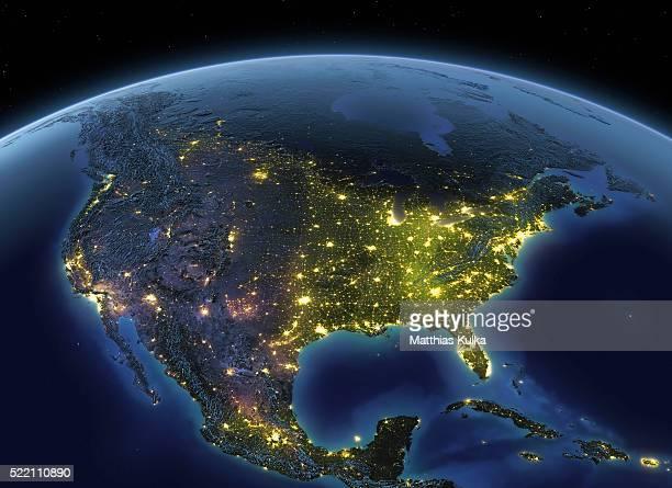 earth at night usa - nordamerika stock-fotos und bilder