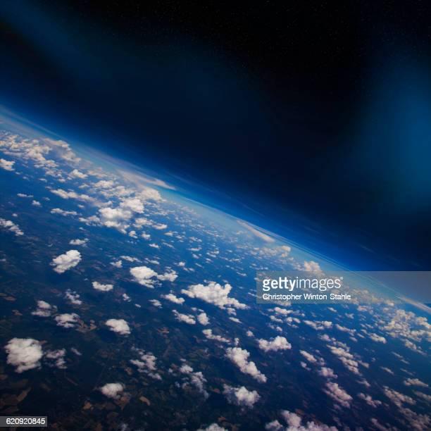 earth atmosphere viewed from space - satellitenaufnahme stock-fotos und bilder