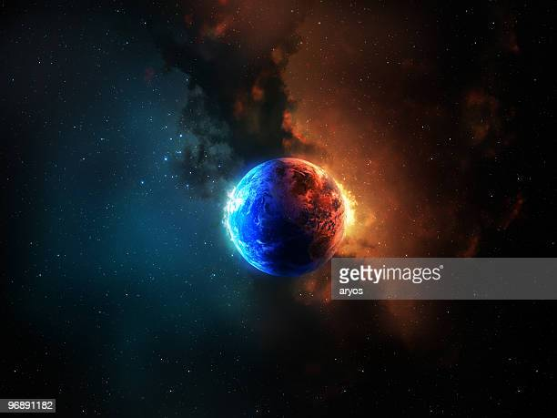 Earth between red and blue energy