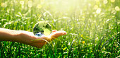 Earth crystal glass globe in human hand on fresh juicy grass background. Saving environment and clean green planet concept. Card for World Earth Day.