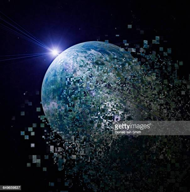 Earth dissolving into pixels in outer space