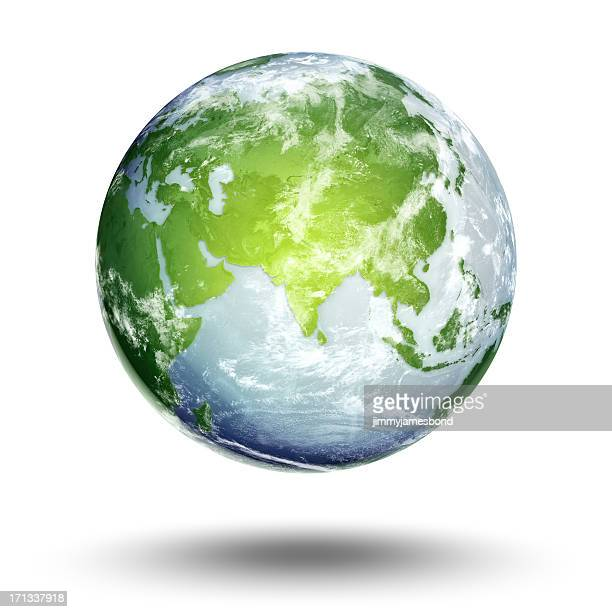 terre-hémisphère est - objet vert photos et images de collection
