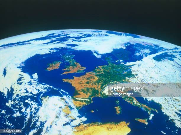 Earth from space Europe seen from a satellite circa 1980s France in the centre with Great Britain to the north and to the south can be seen Italy and...