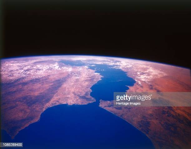 Earth from space the Straits of Gibraltar c1980s The point where Europe and Africa meet Gibraltar on the southern tip of Spain almost touches the...