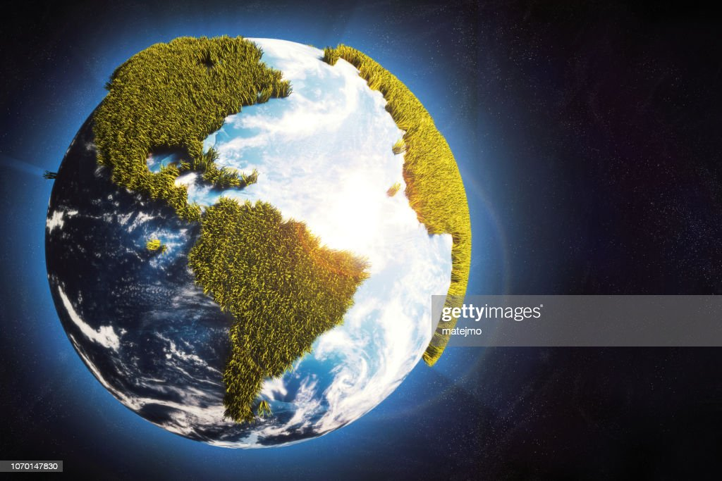 Earth globe in space with cartoony grass continents & glowing atmosphere : Stock Photo