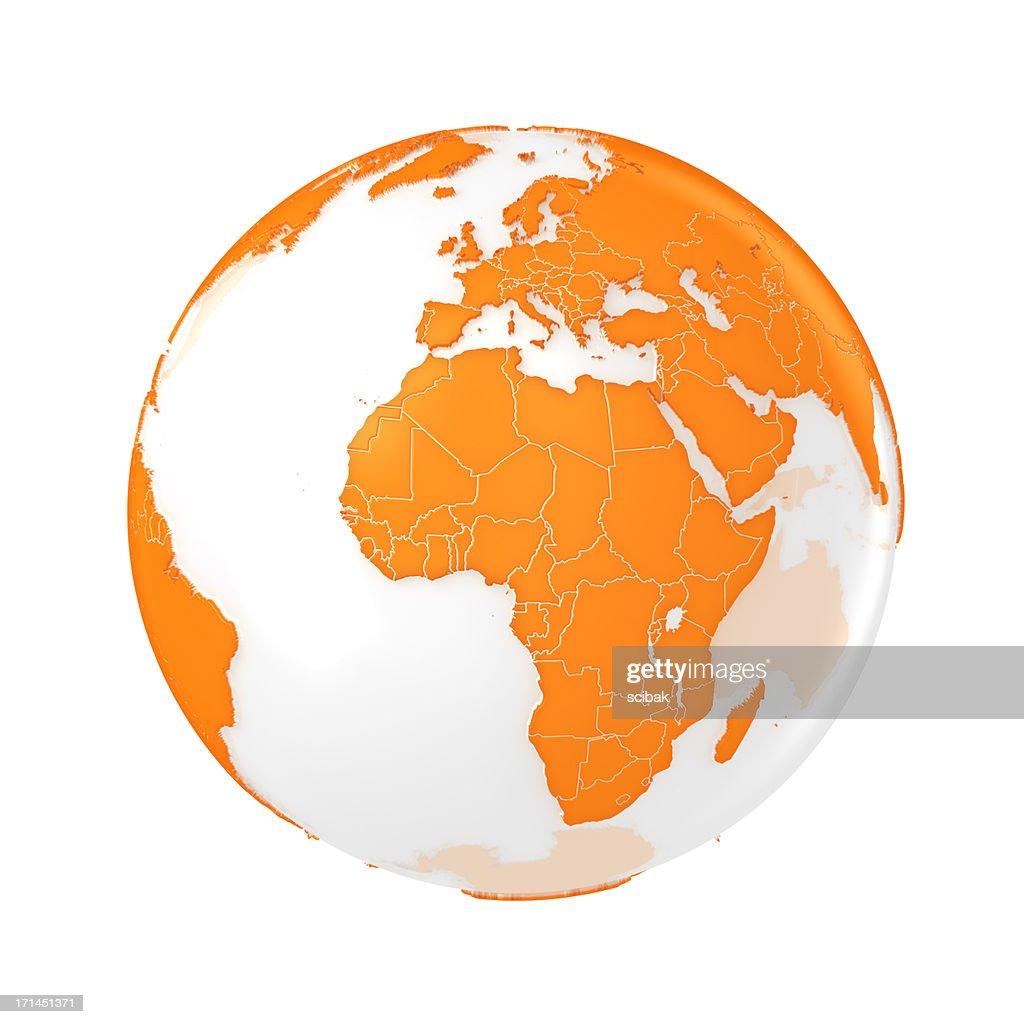 Earth globe orange : Stock Photo