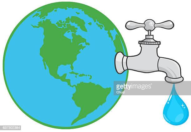 Earth Globe With Water Faucet And Drop
