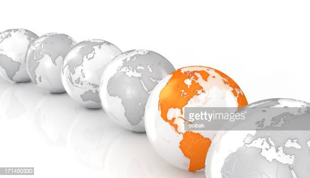 Earth globes on white surface