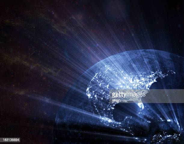 earth  glowing - north america stock pictures, royalty-free photos & images