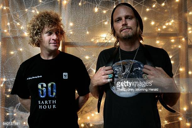 Earth Hour 2007 Portrait of Dan Single on left and George Gorrow from Ksubi wearing the Earth hour tshirt and the Sad Earth tshirt 1 March 2007 SMH...
