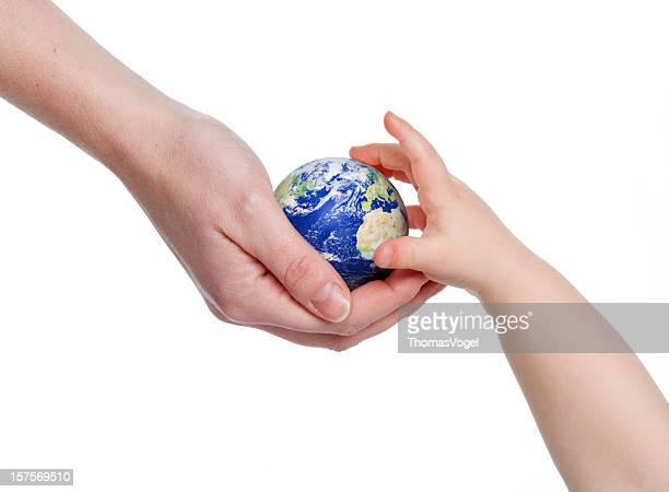 Earth in hand. Global Warming Child World Environment