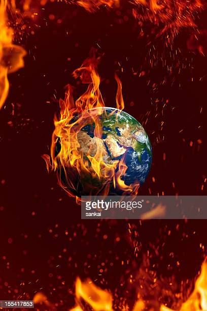 earth is on fire, global danger concept - burning stock pictures, royalty-free photos & images