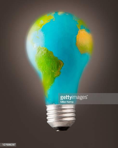Earth lightbulb in studio