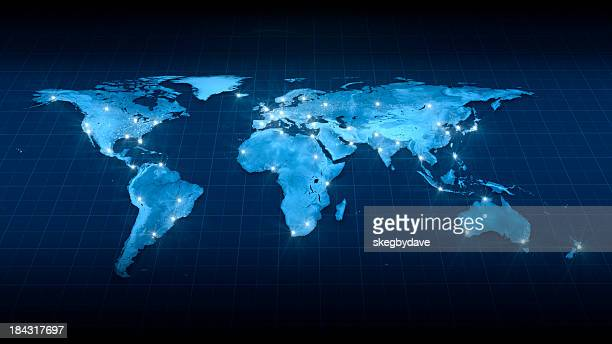 earth map city lights top view - world map stock photos and pictures