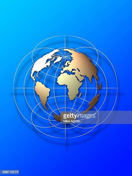 earth map on a grid - mike agliolo stock photos and pictures
