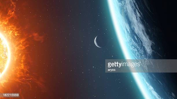 earth moon and sun - moon surface stock pictures, royalty-free photos & images