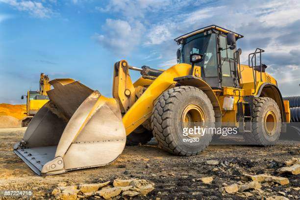 earth mover in a new highway construction s3, poland - excavator stock pictures, royalty-free photos & images
