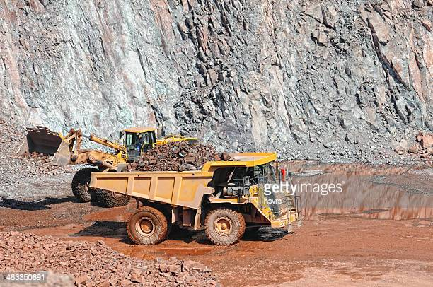 earth mover loading a dumper truck surface mine