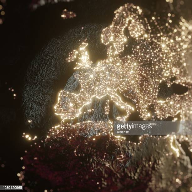 earth night space with some clouds city lights bokeh, europe - night stock pictures, royalty-free photos & images
