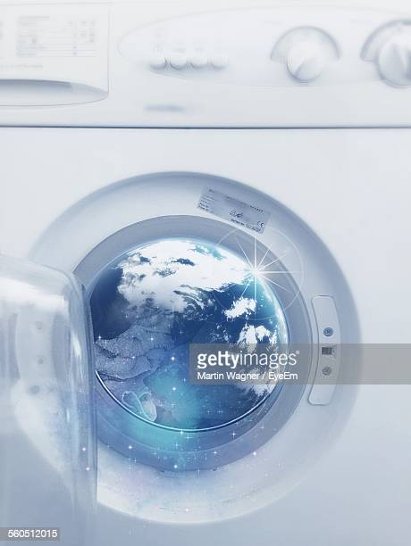 earth on glass of washing machine - hygiene stock-fotos und bilder