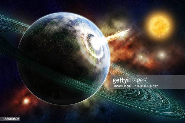 earth - saturn planet stock photos and pictures