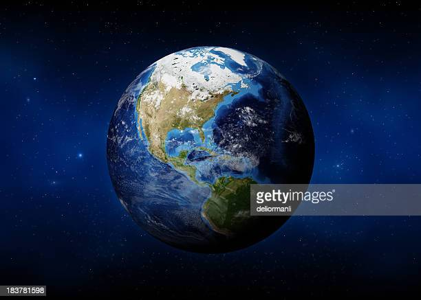 earth (usa view) - planet earth stock pictures, royalty-free photos & images