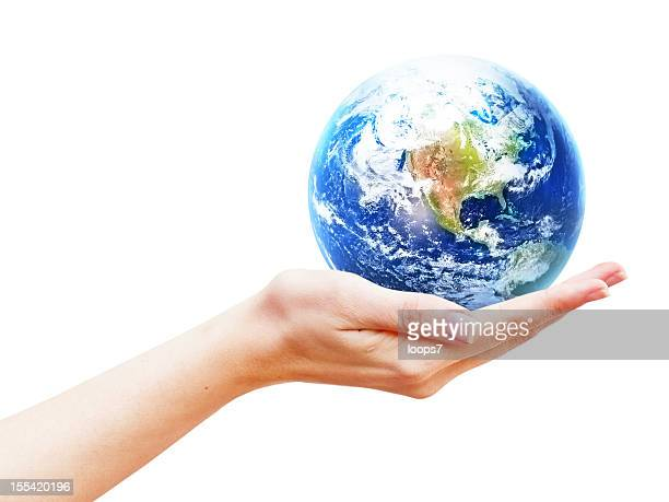 earth planet in hand - rescue stock pictures, royalty-free photos & images