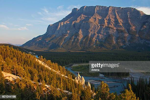 Earth pyramids / Hoodoos in the Bow Valley and Mount Rundle in the Banff National Park, Alberta, Rocky Mountains, Canada.