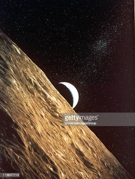 Earth rise seen from surface of Moon Apollo Mission 1969 NASA photograph