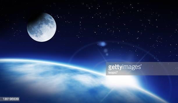 Earth, rising Sun and Moon