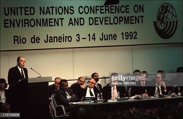 Earth summit in Rio de Janeiro Brazil on June 02 1992 FranCois Mitterrand